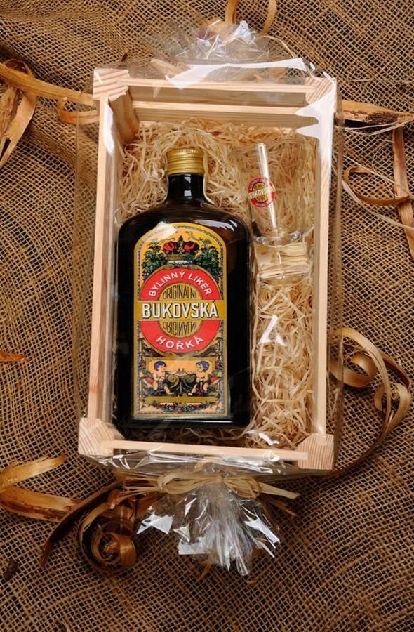 Bukovská hořká, panáček s logem Bukovská